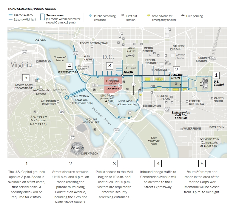 4th of July Parade Washington DC Route Map